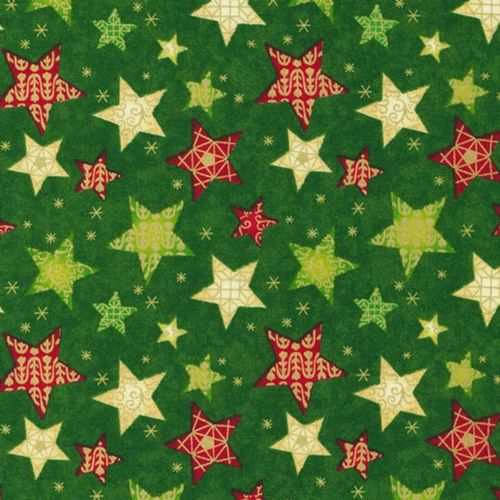 Fabri Quilt - Seasons Greetings, Stars - Green Christmas Patchwork Fabric